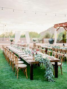 Elegant spring organic desert wedding table decor: http://www.stylemepretty.com/2016/08/26/elegant-arizona-al-fresco-dinner-party-wedding/ Photography: Rachel Solomon - http://rachel-solomon.com/