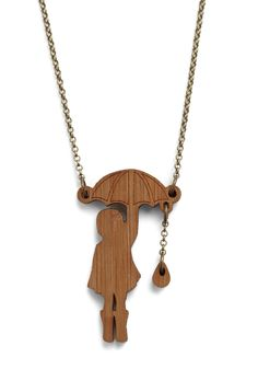 I wish to don a pair of galoshes and splash through puddles in this necklace.