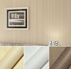 New Simple Style White/Cream/Coffee Flocking Embossed Textured Lines Wallpaper #Other