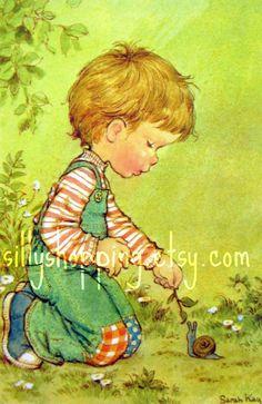 Vintage 70s Sarah Kay Little Boy and Snail Postcard. $6.00, via Etsy.