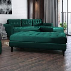 SELSEY Kopenhaga - Corner Sofa/Sofa Bed / 3 Seater Lounge in a Beautiful Monolith Green Fabric with Separate Ottoman: Amazon.co.uk: Kitchen & Home Green Corner Sofas, Corner Sofa Living Room, Living Room Green, Living Room Bedroom, Sofa Design, Interior Design, Suede Couch, Lounge Sofa, Houses