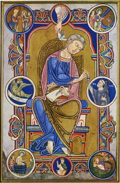 ROMANESQUE - MANUSCRIPT ILLUMINATION - St. John the Evangelist, from the Gospel Book of Abbot Wedricus - Shortly before 1147 - Societe Archeologique et Historique - Rope-like loops of drapery - Byzantine style. Precisely controlled contours unite varied elements. Interlacing patterns - Dark Ages influence. Dove- Holy Spirit symbol - in hand of God - above John. His symbol - the eagle - to the left. Donor of manuscript - holds ink well - to the right.  LOCATION: AVESNES-SUR-HELPE, FRANCE