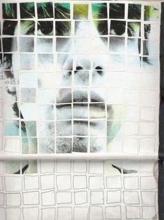 Luca Nava: self portrait, collage e matita su carta