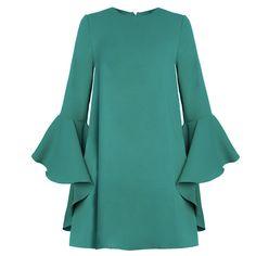 Estilo de muy buen gusto de moda vestido verde lindo o-cuello flare manga back zipper a-line mini vestido de slim fit dr10769ct