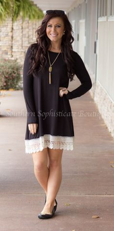 Southern Sophisticate Boutique   Black Long Sleeve Crochet Bottom Dress