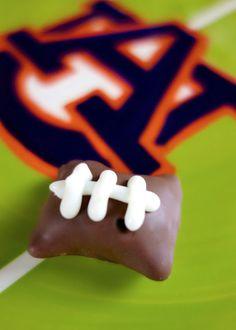 Chocolate Dipped Football Pretzel Bites