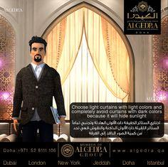 Choose light curtains with light colors and completely avoid curtains with dark colors because it will hide sunlight اختاري الستائر الخفيفة ذات الألوان الهادئة وتجنبي تمامآ الستائر الثقيلة ذات الألوان الداكنة والنقوش فهي تحد من كمية الضوء النافذ إلى الغرفة  #ALGEDRACharacter #Character #Tips #Animation #ALGEDRA #ALGEDRAInterior #Qatar #Doha #الكيدرا #الكيدرا_للديكور #تصميم_الكيدرا
