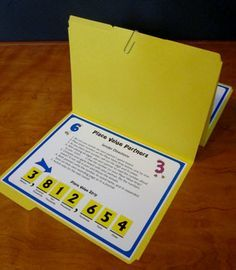 Place Value Partners Game - Awesome for math centers! - CCSS aligned with… Math Resources, Math Activities, Math Games, Math Stations, Math Centers, Fifth Grade Math, Fourth Grade, Math School, Math Intervention