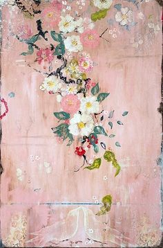 "Kathe Fraga Art, www.kathefraga.com Kathe's  paintings are inspired by the romance of vintage French wallpapers and Chinoiserie with a modern twist. ""Blush"", 36x24 on frescoed panel with Japanese gold ink."
