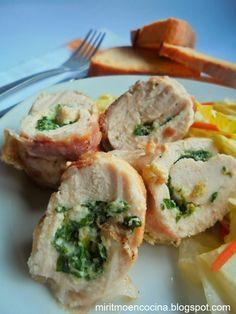 Mi ritmo en cocina ...: Rollos de pollo con espinacas
