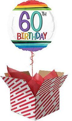 Rainbow 60th Birthday Balloon in a Box