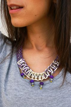 statement chain necklase with purple and  white by anemosCreation, €26.00