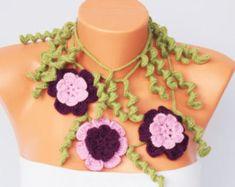 Collar bufanda del ganchillo lariat bufanda del ganchillo, ganchillo bufanda de la joyería, regalo