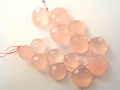 Pink Chalcedony Faceted Heart (Quality A+) / 9 to 13 mm / 8 cm / 62.05 carats / 14 pieces / ST-3007 by beadsofgemstone on Etsy