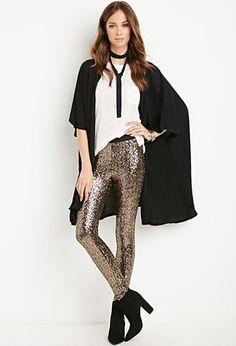 sequin leggings, skinny scarf, and black kimono