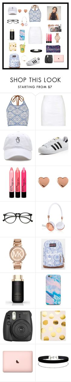 """Cute and girly outfit for school 💟"" by enchantedgirl44220 ❤ liked on Polyvore featuring River Island, Topshop, adidas, Ted Baker, INDIE HAIR, Frends, Michael Kors, JanSport, Victoria's Secret and Fujifilm"