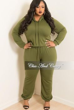 6043132f2a7 New Plus Size 2-Piece Hooded Top and Pants Set in Olive