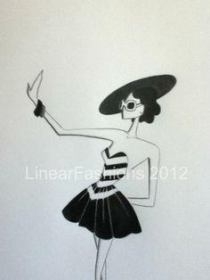 Fashion Art Illustration 1950s by LinearFashions, $32.00.