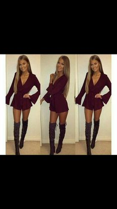 My white romper with black over the knee boots