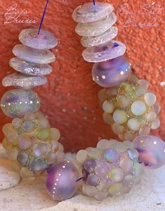 Baja Breezes Sea Salt Barrel Set (15) Handmade glass lampwork beads | beadsandbotanicals - Jewelry on ArtFire