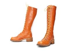 size 8.5 CAMPUS tan leather 60s 70s PLATFORM COMBAT chunky lace up knee high boots on Etsy, $225.00