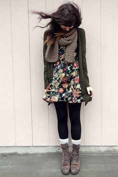 dress + tights + sweater + scarf + boots