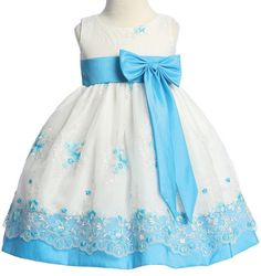 Little Lady Aqua Embroidered Organza Spring Dress - 8010 Girls Spring Dresses, Little Girl Dresses, Flower Girl Dresses, Pink And White Dress, Dress With Bow, Toddler Formal Dresses, Baby Wedding Outfit, Wonderland, Organza Dress