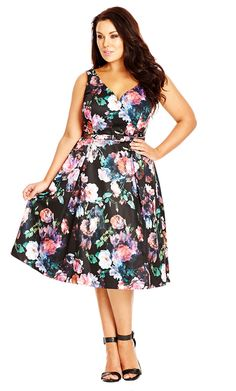 FLORAL TIFFANY DRESS - City Chic