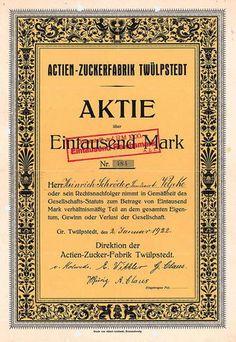 Actien-Zucker-Fabrik Twülpstedt / Aktie 1.000 Mark, Gr. Twülpstedt 2.1.1922.