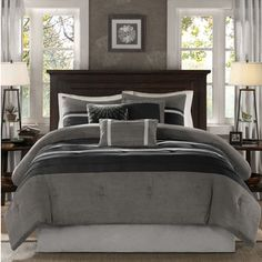Madison Park Porter Black/ Grey Comforter Set