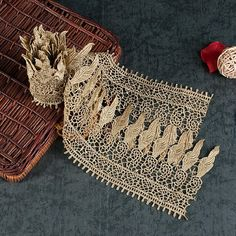 1 Yard Embroidery Flower Hollow Gold Lace Trim DIY Clothing