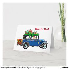 Vintage Car with Santa Christmas Card Merry Christmas And Happy New Year, Santa Christmas, Business Christmas Cards, Personalised Christmas Cards, Plant Design, Custom Greeting Cards, Vintage Cards, Zazzle Invitations, Thoughtful Gifts