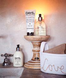 Miss Applepie - Riverdale Bathroom stuff on wooden candle holder... Great idea!