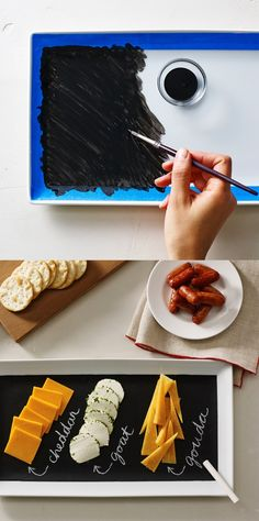 Cute idea! Make a Chalkboard Paint Cheese Tray for the holidays and parties!...perfect gift for some foodies i know