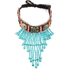 Nightmarket Women Tribal Choker Necklace (1.335 BRL) ❤ liked on Polyvore featuring jewelry, necklaces, multicolor, beaded necklaces, beaded choker, tri color necklace, multicolor bead necklace and beaded fringe necklace