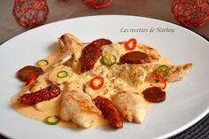 Aiguillettes de poulet, sauce crémeuse au chorizo (Evidemment, dans cette recette , remplacer la crème par du soja cuisine et le beurre par une bonne margarine végétale ) . On peut ainsi adapter un grand nombre de recettes, pas question de se priver. ☺