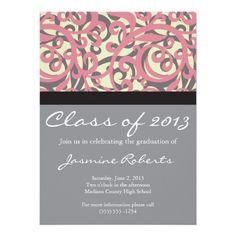 Pretty Pink Swirls Graduation Invitation