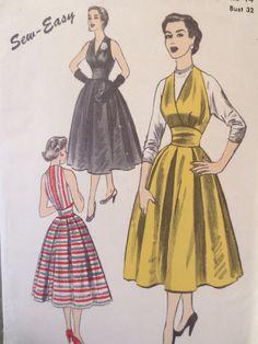 Vintage Advance 6320 Sewing Pattern, 1950s Halter Dress, Marilyn Monroe Style Bust 32, Full Skirt, 1950s Dress Pattern, 1950s Sewing Pattern