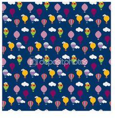 Vector hot air balloons seamless pattern — Grafika wektorowa © paveu #64969235