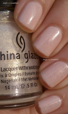Wedding nail idea - OPI Mimosas topped with China Glaze White Cap