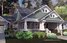 ideal Craftsman-style home design and front porch familyhomeplan.com number 75137