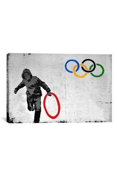 Street Art: Olympics Stolen Ring Street Art 18in X 12in Canvas Print