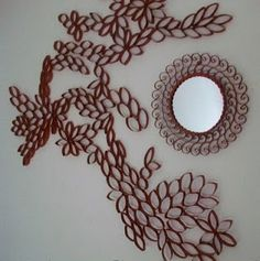 DIY wall art with recycled cardboard tubes