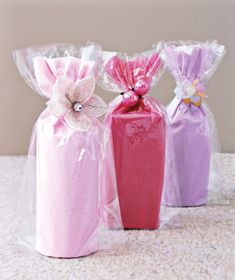 Wrapped gifts tied with ponytail holders