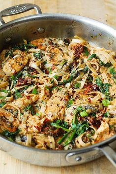 Chicken Pasta with Sun-dried Tomatoes and Spinach in a Creamy Cauliflower Sauce.