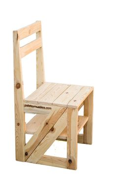 silla-escalera-palets-y-muebles. Handmade Wood Furniture, Pallet Patio Furniture, Diy Furniture Plans, Diy Furniture Projects, Home Decor Furniture, Furniture Design, Ladder Chair, Chair Design Wooden, Woodworking