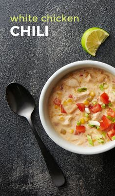 This extra-cheesy, not-too-spicy white chicken chili preps in just 5 minutes. (Go on, have seconds.) The best part about this recipe is there is very little prep! You simply cut up your chicken, drain your beans, then throw all the other ingredients in yo Chili Recipes, Crockpot Recipes, Soup Recipes, Chicken Recipes, Cooking Recipes, Healthy Recipes, Healthy Foods, Recipies, Slow Cooking