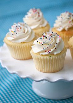 """Perfect Vanilla Cupcakes (Tide and Thyme). """"This has been my go-to cake for birthday parties for quite some time. It really is the perfect vanilla cake. It comes together quickly, creates a gorgeous thick batter, and bakes up beautifully."""""""
