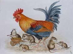 Посмотреть иллюстрацию Захарова Наталия - Петух с мышами.