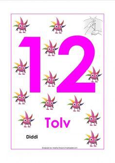 Sifferkort 1-12 med Babblarna och tecken Montessori Toddler, Toddler Activities, Preschool Themes, Sign Language, Signs, Pre School, Mathematics, Diy For Kids, Symbols